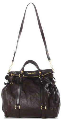 Miu MiuMIU MIU Brown Leather Gold Tone Satchel Handbag EVHB