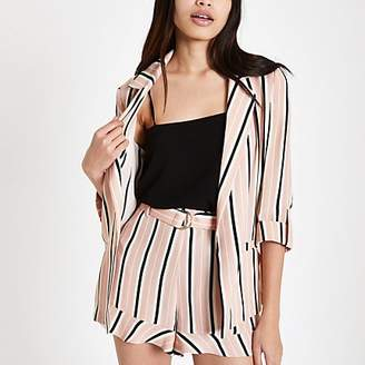 River Island Pink stripe print rolled sleeve blazer