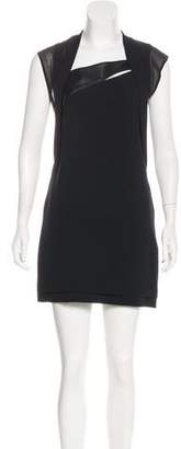 The Kooples Leather-Accented Mini Dress