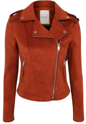 George Burnt Orange Faux Suede Biker Jacket