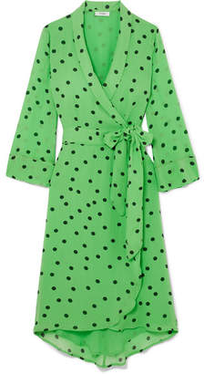 Ganni Polka-dot Georgette Wrap Dress - Green