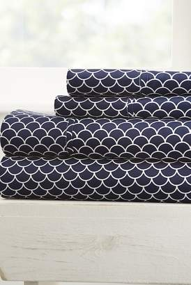 IENJOY HOME The Home Spun Premium Ultra Soft Scallops Pattern 4-Piece King Bed Sheet Set - Navy