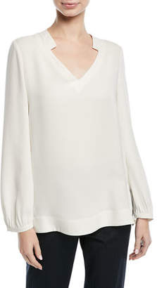 Escada V-Neck Long-Sleeve Silk Tunic