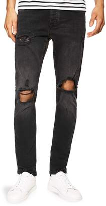 Topman Skinny Fit Stretch Ripped Jeans