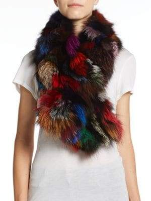 Surell Multicolored Fox Fur Scarf