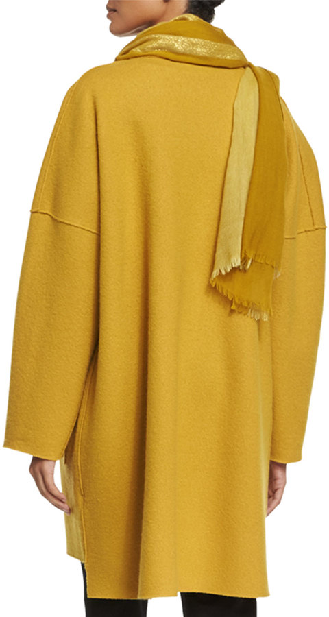 Eileen Fisher Boiled Wool Kimono Coat, Mustard 2