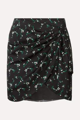Caroline Constas Koren Gathered Floral-print Silk-blend Mini Skirt - Black