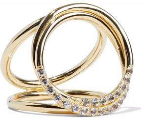 Elizabeth & James Elizabeth And James Woman Set Of Two Gold-tone Crystal Rings Gold Size 6