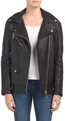 Oversized Lamb Leather Biker Jacket