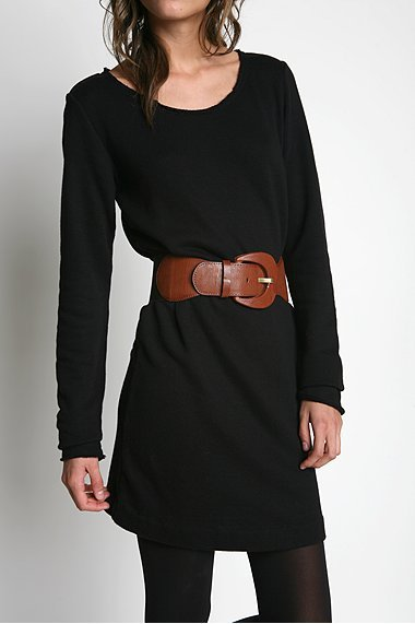 Wide Leather Tab Stretchy Belt