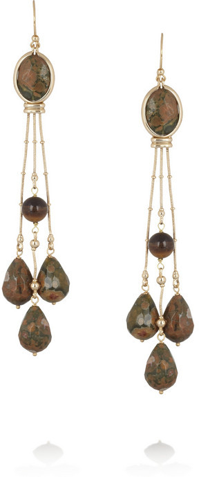 Etro Gold-plated, jasper and tiger's eye earrings