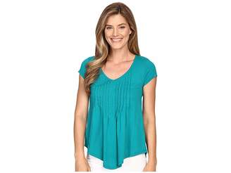 Mod-o-doc Supreme Jersey Tux Pleat Short Sleeve V-Neck Tee Women's T Shirt