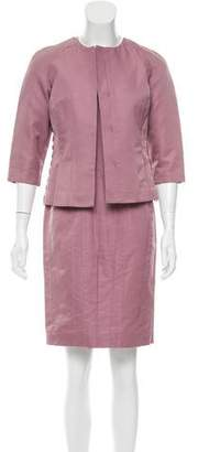 J. Mendel Satin Sheath Dress Set