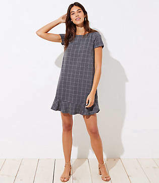 LOFT Petite Windowpane Flounce Dress
