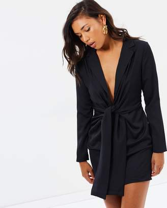 Missguided Satin Tie Front Knot Shift Dress