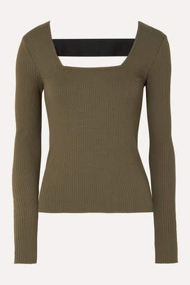 The Range - Alloy Cutout Ribbed Stretch-knit Top - Green