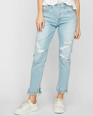 Express High Waisted Frayed Original Vintage Skinny Jeans
