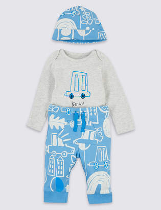 Marks and Spencer 3 Piece Bodysuit & Leggings with Hat