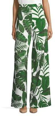 Alice + Olivia Athena Leaf Print Wide Leg Pants
