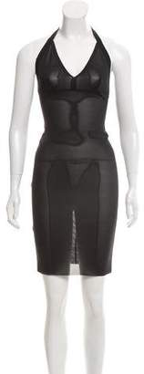 Roland Mouret Sheer Halter Dress