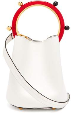 Marni Pannier Leather Bucket Bag - Womens - White Multi