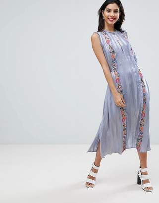 French Connection Floral Embroidered Stripe Shirt Dress