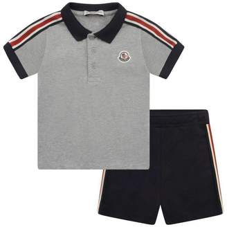 Moncler MonclerBaby Boys Grey Polo Top & Navy Shorts Set