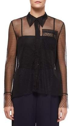 Roland Mouret Algar Sheer-Sleeve Lace Boyfriend Shirt