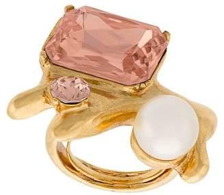 Oscar de la Renta coral crystal ring