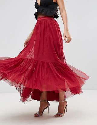 Asos Design Maxi Tulle Skirt with Tiered Hem