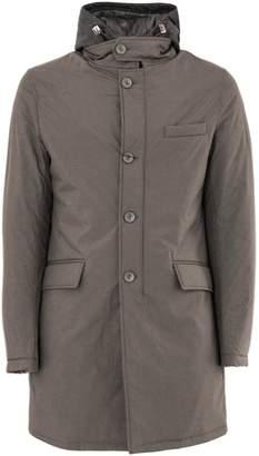 Herno Raincoat In Mud-tone High Tech Fabric.