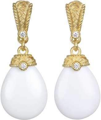 Judith Ripka Sterling & 14K Clad Agate & Diamonique Earrings
