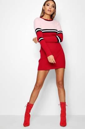 boohoo Colour Block Rib Knit Jumper Dress