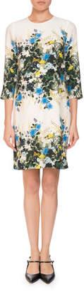 Erdem Emma 3/4-Sleeve Mariko Meadow Floral Shift Dress
