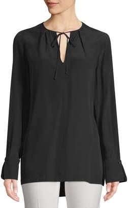 Diane von Furstenberg Women's Tie Front Key Hole Blouse