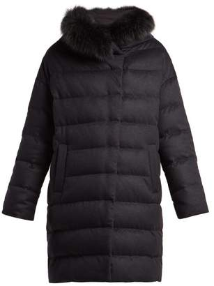 Herno Hooded Quilted Down Silk And Cashmere Blend Coat - Womens - Navy