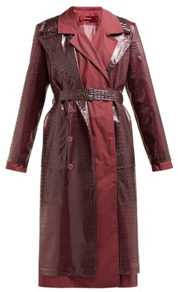 Sies Marjan Devin Faux Crocodile Effect Layered Trench Coat - Womens - Purple