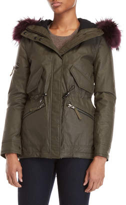 SAM. Real Fur Trim Hooded Mini Hudson Coat