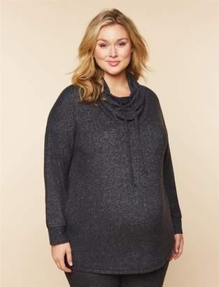 Motherhood Maternity Plus Size Hacci Cowl Neck Maternity Sweatshirt