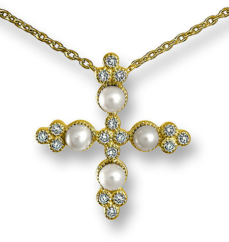 Zasha Gold Pearl Cross Necklace