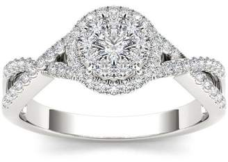 Imperial Diamond Imperial 1/2 Carat T.W. Diamond Criss-Cross Shank Halo Cluster 10kt White Gold Engagement Ring
