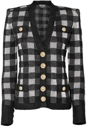 Balmain Buffalo Plaid Gold Button Cardigan