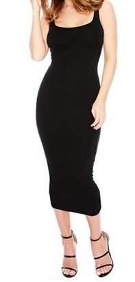 Kenancy Women Sexy Elegant Slim Knitted Round Neck Sleeveless Stretch Solid Evening Dress
