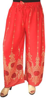 Maple Clothing Womens Rayon Indian Pants Wide Leg Golden Print