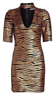 Alice + Olivia Women's Inka Sequin Zebra Print Choker Mini Dress