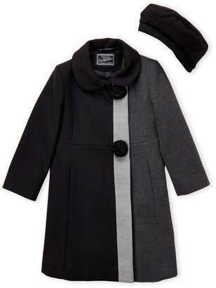 Rothschild (Girls 4-6x) Two-Piece Color Block Coat & Hat Set