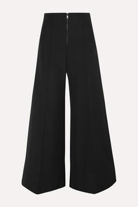Kwaidan Editions Bonded Wool And Cotton-blend Wide-leg Pants - Black