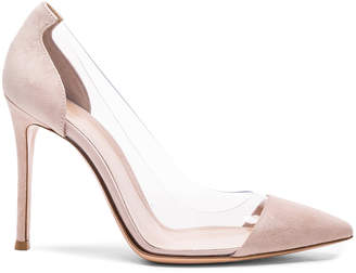 Gianvito Rossi Suede & Plexi Pumps in Rosa | FWRD