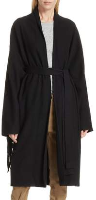 Robert Rodriguez Fringe Detail Boiled Wool & Cashmere Wrap Coat