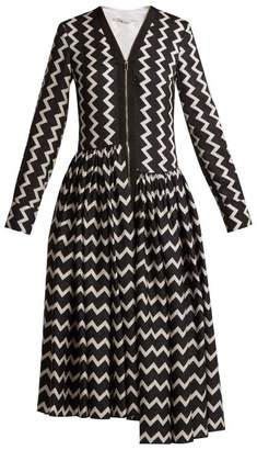 Stella McCartney Zigzag Long Sleeved Maxi Dress - Womens - Black White